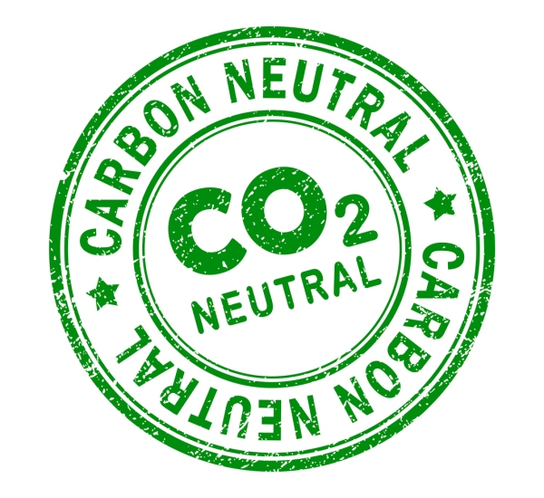 Carbon-neutral green retro style grunge seal - Vector Illustration